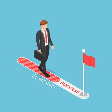 Isometric businessman walking on progress loading bar with flag target