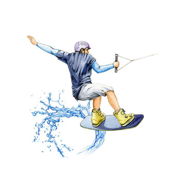 A wakeboard sportsman jumping on the wave watercolor illustration. Hand drawn athletic active man holding the rope after the wake boarding boat. Isolated on white background.