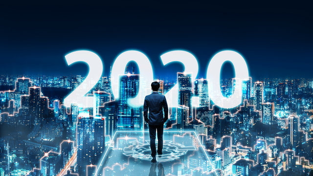 New year 2020 business man on future network city