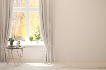 Stylish empty room in white color with autumn landscape in window. Scandinavian interior design. 3D illustration Wall mural
