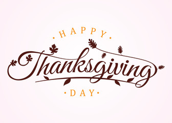 Happy thanksgiving day with autumn leaves. Hand drawn text lettering for Thanksgiving Day