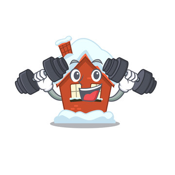 Cartoon winter house with in with bring barbell character