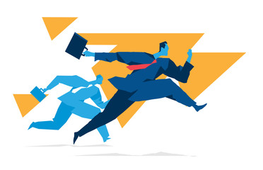 Two businessmen running. Business competition concept. Vector illustration