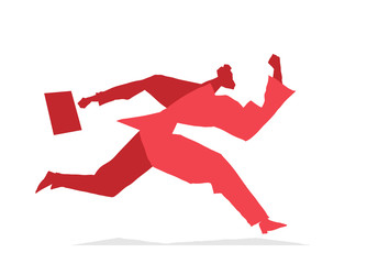 Red silhouette of running businessman isolated on white background. Vector illustration