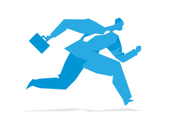 Running businessman with briefcase. Vector illustration isolated on white background