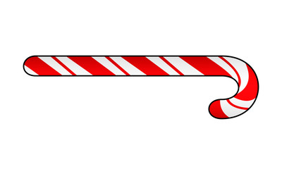 Christmas Candy Cane illustration. Decorative festive element for new year eve, seasonal holiday icon. Traditional food and symbol. For printing on flyers, banners, invitation and greeting cards