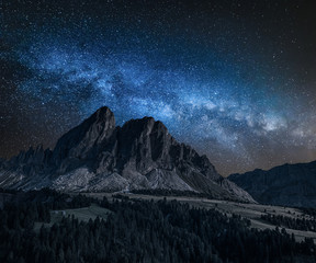 Wall Mural - Milky way over Passo delle Erbe in Dolomites