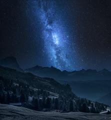 Wall Mural - Milky way over passo gardena at night, Dolomites, Itally