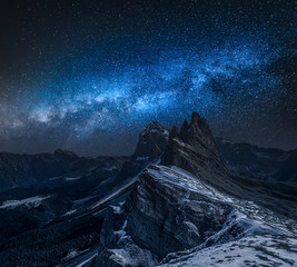 Tuinposter Alpen Mily way over Seceda in South Tyrol at night, Dolomites