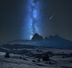 Wall Mural - Milky way over Alpe di Siusi in Dolomites at night