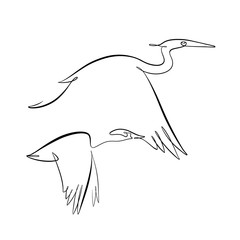 Foto auf AluDibond One Line Art Abstract, minimalistic, line art flying duck and heron figure. Hand drawn, one line, printable, wall art illustration.