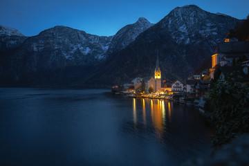 Hallstatt Village and Mountains at night - Hallstatt, Austria