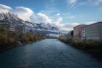Inn River, Innsbruck skyline and Alps Mountains - Innsbruck, Tyrol, Austria