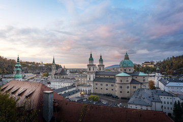 Aerial view of Salzburg skyline at sunset - Salzburg, Austria