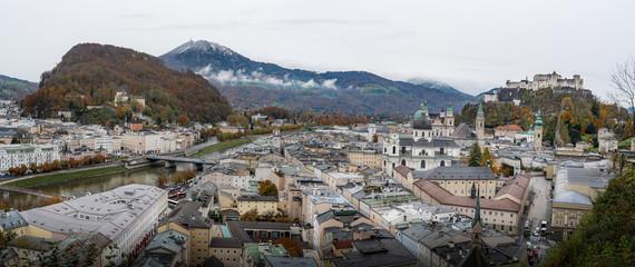 Panoramic Aerial view of Salzburg city - Salzburg, Austria
