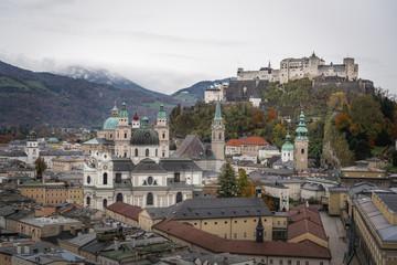 Aerial view of Salzburg old town and Hohensalzburg Fortress - Salzburg, Austria