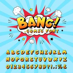 Comic book alphabet. Retro cartoon comic book graphic font elements, alphabet letters and numbers symbols vector illustration set. Creative script with letter and numeral elements. Pop art design
