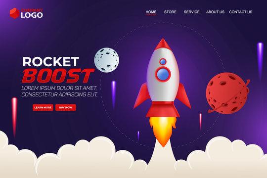 Rocket Boost Website Landing Page Vector Template Design