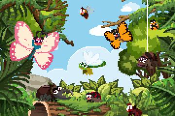 Insects in jungle scene