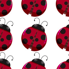 Seamless background design with red ladybugs