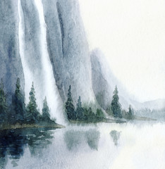 Watercolor landscape. Waterfall from the rocks to the lake - 303084024
