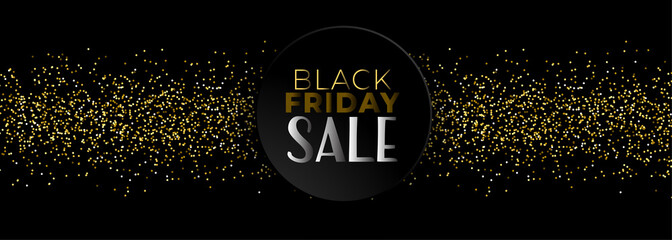 black friday sale banner with golden glitter