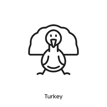 turkey icon. turkey vector symbol. Linear style sign for mobile concept and web design. turkey symbol illustration. Pixel vector graphics - Vector
