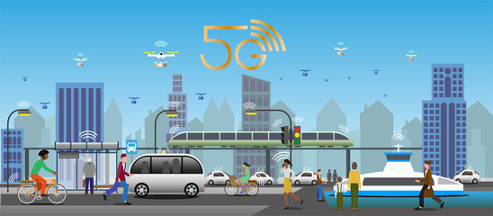5G technology for public transport environment. Traffic lights and street lights with IoT for smart function. Drones for fast deliveries. Electrified vehicles, buses, ferries, trains and bicycles. Fotomurales