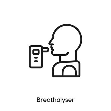 breathalyzer icon. breathalyzer icon vector. Linear style sign for mobile concept and web design. breathalyzer spray symbol illustration. vector graphics - Vector.