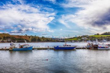 boats in harbor water in Kinsale, Cork region