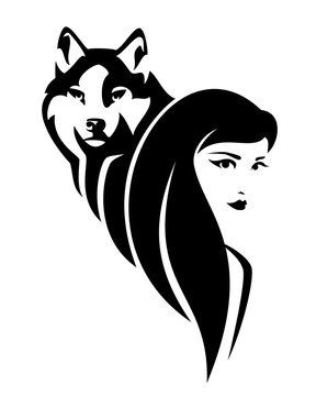 beautiful young woman with long hair and wolf spirit animal - black and white vector portrait design