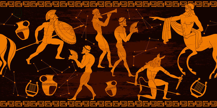 Ancient Greece horizontal seamless pattern. Greek mythology. Centaur, people, gods of an Olympus. Vase painting. Red figure style