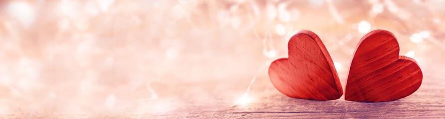 Valentine heart on pink background