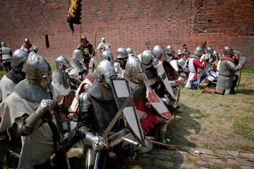 Foto op Canvas Paarden Średniowieczni rycerze
