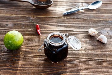 soy sauce with garlic, lime and chili pepper