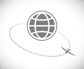 plane track around globe