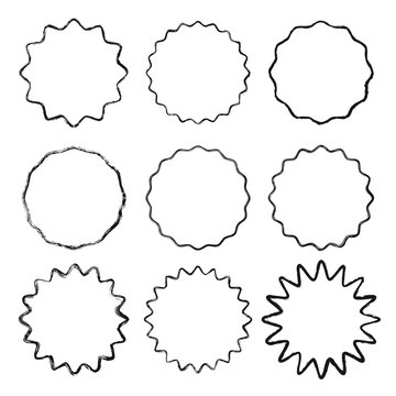 Set of vector black wavy grunge contour frames isolated on white background