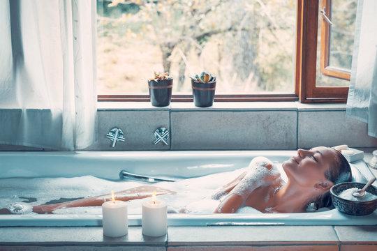 Happy woman at spa resort
