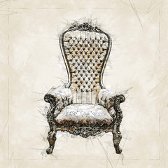 Digital illustration painting of a Elegant golden royalty throne