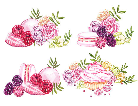 Watercolor sweets collection. Hand drawn watercolor cakes illustrations. Wedding cake, cake with berries, pink cup, cookie, cupcake, macaroon and flowers. Perfect for invitation, wedding or greeting