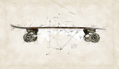 Illustration sketch of a project to realise a wooden skate board