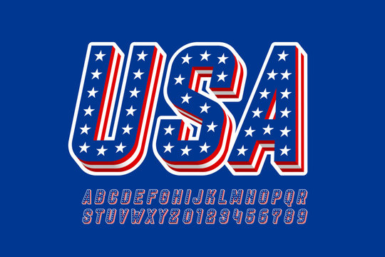 USA flag style font design, alphabet letters and numbers