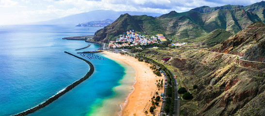 Zelfklevend Fotobehang Kust Tenerife holidays and landmarks - beautiful beach las Teresitas, near Santa Cruz. Canary islands