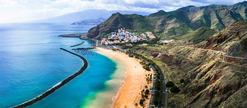 Tenerife holidays and landmarks - beautiful beach las Teresitas, near Santa Cruz. Canary islands