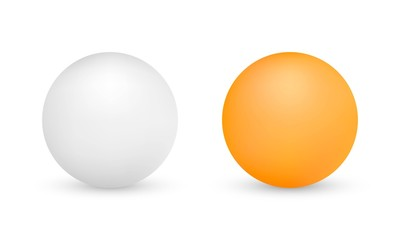 Obraz White and orange ping-pong balls isolated on white background. Vector illustration - fototapety do salonu