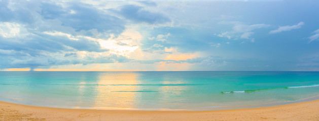 Panorama photos of Surin Beach at sunset in Thailand