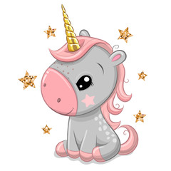 Cartoonl unicorn with gold horn isolated on a white background