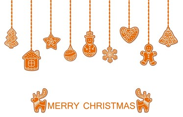 Merry christmas holiday vector illustration of hanging christmas gingerbread cookies. Xmas gingerbread in shape of deers, man, house and christmas star.