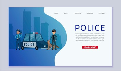 Police patrol concept with cops and guard dog near police car in city vector web template. Caucasian policeman and policewoman city control at cityscape.