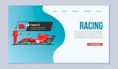 Karting racing speed cars vector web template illustration. Web page with race sport pictures of speed fast karting automobiles and racer cartoon picture.